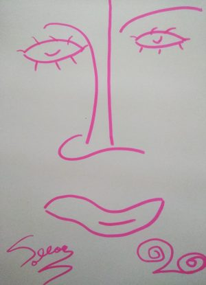 Abstract Pink Lady Face