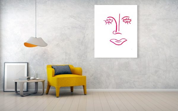 Sollog Art Abstract Face Pink Lady Wall